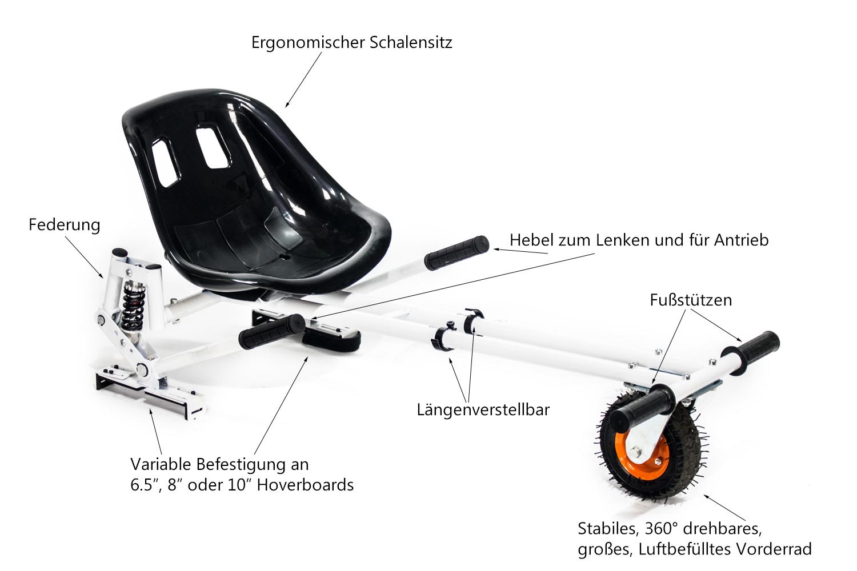hoverseat hoverkart hoverboard self balance scooter e. Black Bedroom Furniture Sets. Home Design Ideas